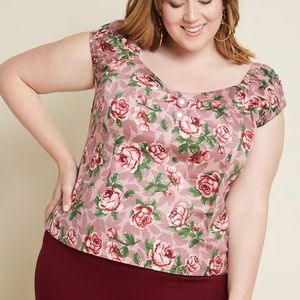 Collectif x ModCloth Roses Top BNWT